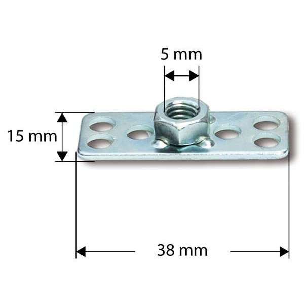 S 38 x 15 mm/M 5 zeskantmoer